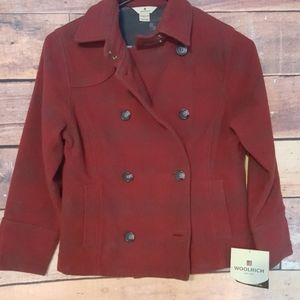 Woolrich plaid double breasted pea coat women